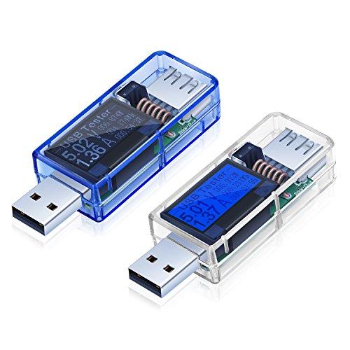 Pocket Digital Multimeter Costyle 2 Pack USB Digital Power Multi Meter Tester Multimeter Current and Voltage DC 0-5A 36-325V Test Capacity of Power Banks White Blue-BlueBlack LED