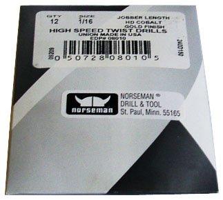 12 Pk - 1564 High Speed Norseman Drill Bits