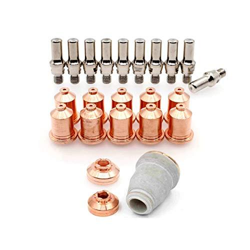 WeldingStop 09mm Contact Tip IPT-60 PT-60 Electrode Drag Shield retaining Cup 30-40A Plasma Cutting Nozzle 23pcs