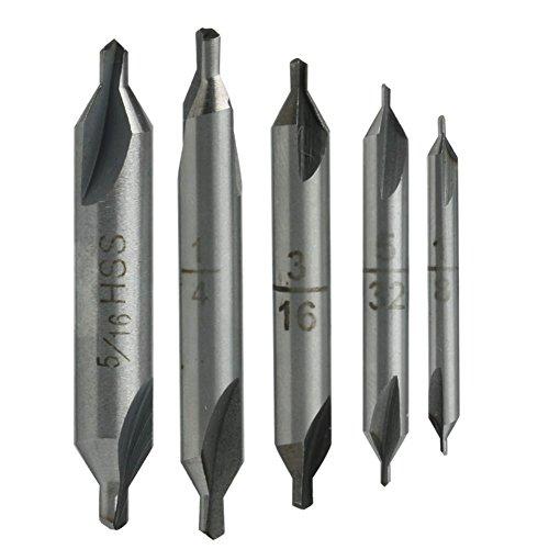 Kangnice 5 Pcs HSS Center 60° Spotting Drill Bits Combined Countersink High Speed Tool
