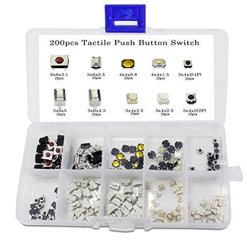 WINGONEER 250PCS 10Value Tactile Push Button Switch Micro Momentary Tact Assortment Kit  Plastic Box