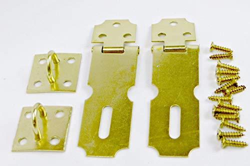 2 Pack Brass Hasp Set Cabinet Gate Door Latch Security Lock Rustproof Hardware