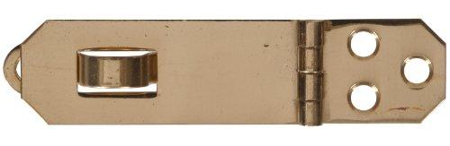 The Hillman Group 851416 34 x 2-34-Inch Solid Brass Decorative Mini Hasp Bright Brass Finish