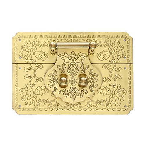 Tiazza 4712cm Square Antique Brass Hasp Pure Copper Fittings Retro Lock Slice Lock Nose(Gold)