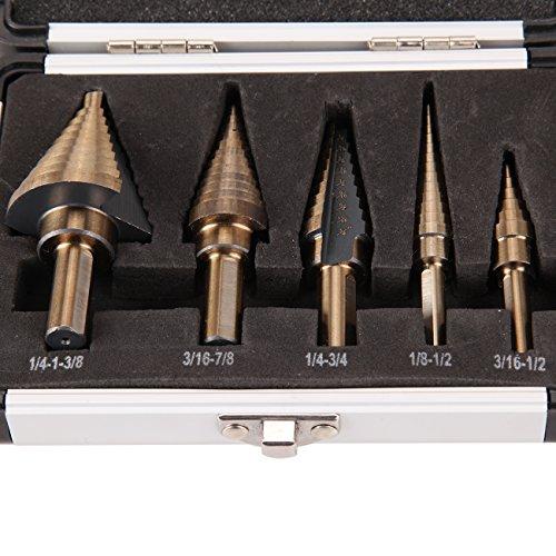 Iglobalbuy 5PCS HSS Cobalt Multiple Hole 50 Sizes Step Drill Bit Set Tools with Aluminum Case
