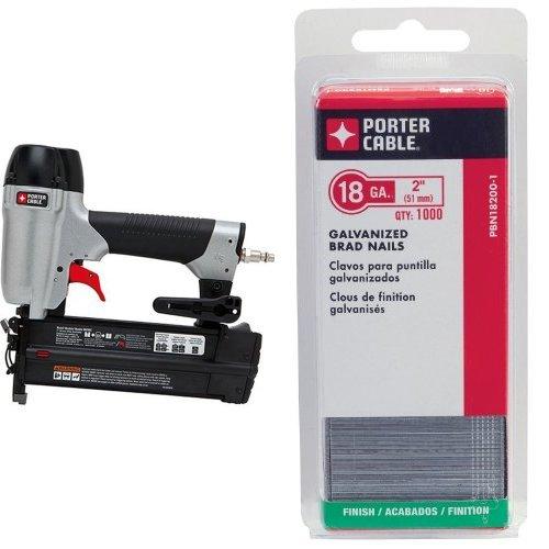 PORTER-CABLE BN200C 2-Inch 18GA Brad Nailer Kit and PORTER-CABLE PBN18200 18 Gauge 2-Inch Brad Nail 5000-Pack Bundle