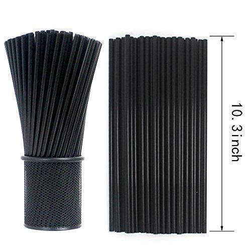 Tomnk 500pcs 103 Inches Drinking Straws Black Plastic Straws