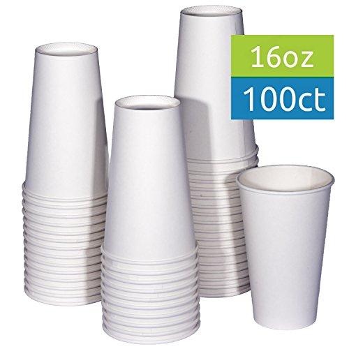 TashiBox 16 oz White Hot Drink Paper Cups - 100 count - Coffee Tea Hot Cocoa