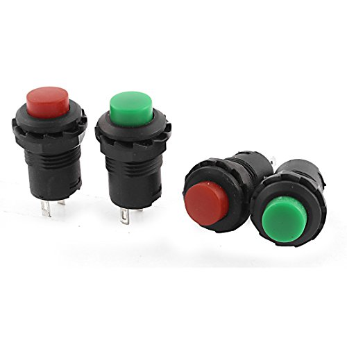 Uxcell a15060100ux0699 Latching SPST Red Green Head Push Button Switch 4 Piece AC 125V3 Amp 250V15 Amp