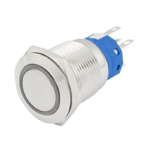 DealMux DC 24V Green LED Light 19mm Momentary Push Button Switch SPDT