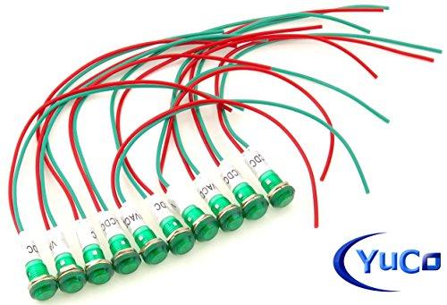 10 YuCo YC-9WRT-23G-120-10 GREEN 9MM LED INDICATOR MINIATURE PILOT LIGHT 120V ACDC