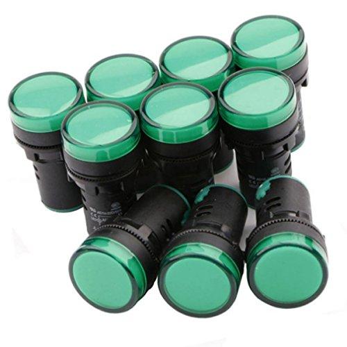 SODIALR Green LED Pilot Light Panel Indicator 12V 10pcs