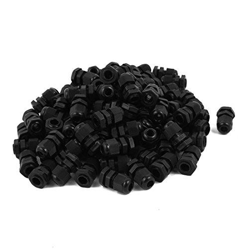 uxcell PG7 Model Black Plastic Waterproof Connectors Cable Glands 100 PCS