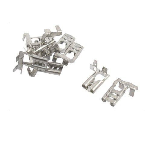 10 Pcs Silver Tone Tone Male Spade Crimp Terminals 63mm Wiring Connectors