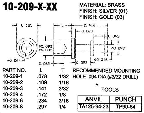 CONCORD ELECTRONICS 10-209-3-01 BRASS TURRET TERMINAL SILVER PLTD QTY 100