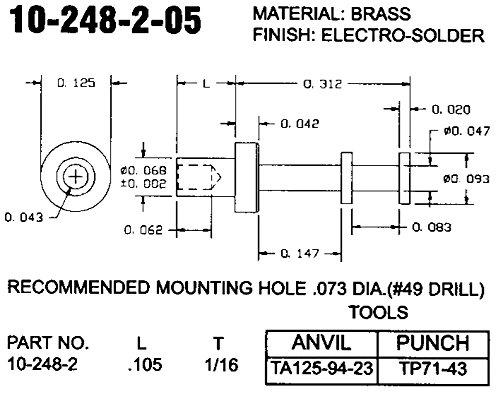 CONCORD ELECTRONICS 10-248-2-05 TURRET TERMINAL QTY 100
