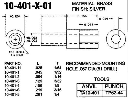 CONCORD ELECTRONICS 10-401-2-05 BIFURCATED TURRET TERMINAL QTY 100