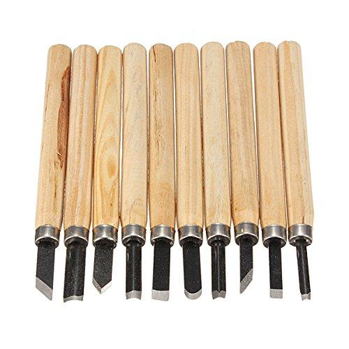 10pcs Wood Handle Carving Mini Chisels Kit Handy Cutting Tools Set