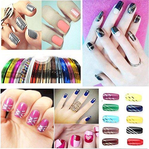 SkuleerTM10 Pcs Mixed Colors Rolls Striping Tape Line DIY Nail Art Tips Decoration Sticker Nail Care