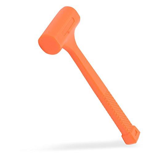 Neiko 02846A 1 LB Dead Blow Hammer Neon Orange  Non Slip Handle