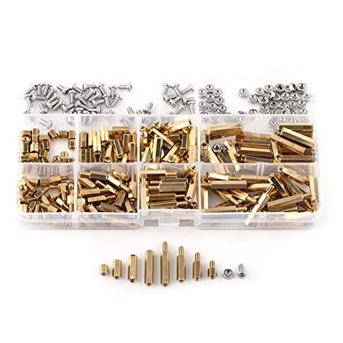 M2 M3 Brass Male-Female - Hex Column Female Male Standoff Screw Nut Assortment KitB