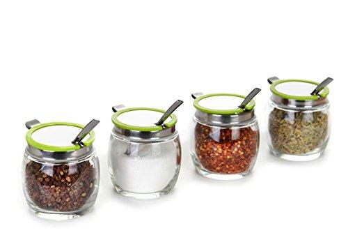 DFFS Kitchen Supplies Glass Spice Box Set Spice Jar Seasoning Box Sauce Bottle Shelf Spice Jars with A Spoon-d