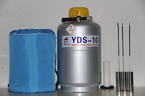 10L Liquid Nitrogen Tank Cryogenic LN2 Dewar Container3 PailsProtective Case