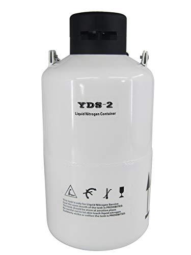 JIAWANSHUN 2L Liquid Nitrogen Container Aluminum Alloy Liquid Nitrogen Dewar Tank Static Cryogenic Container Ln2 Storage Container with a Carry Bag 2L