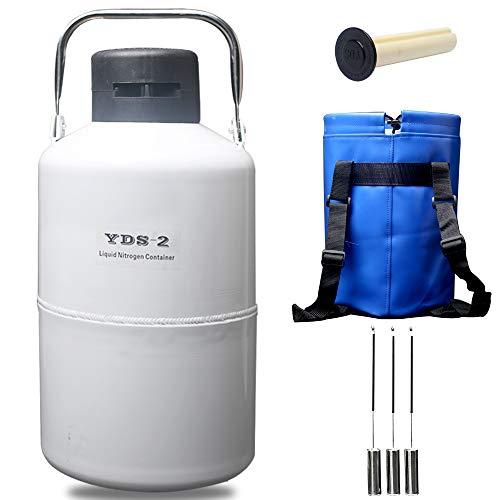 Liquid Nitrogen Storage Tank 2L Cryogenic Container Semen Dewar Flask 2 Liter 30 mm Diameter with Cover 5 Years Vacuum Guarantee