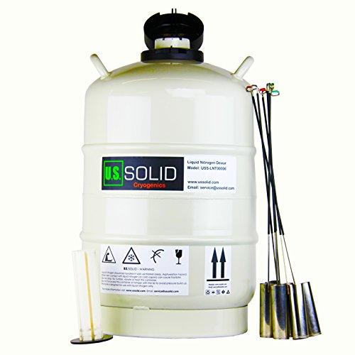 USSOLID 20 L Cryogenic Container Liquid Nitrogen LN2 Dewar Semen Tank 6 Canisters Carry Bag