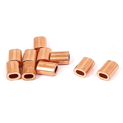 uxcell 1mm Diameter Single Hole Flat Wire Rope Ferrules Brass Tone 10 Pcs