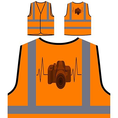 Camera Heartbeat 1 Personalized Hi Visibility Orange Safety Jacket Vest Waistcoat s730vo