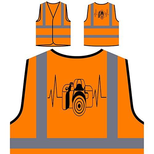 Camera Heartbeat Personalized Hi Visibility Orange Safety Jacket Vest Waistcoat s729vo