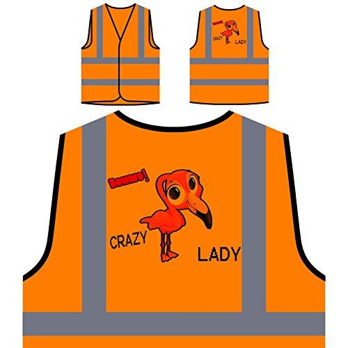Crazy Flamingo Lady Personalized Hi Visibility Orange Safety Jacket Vest Waistcoat u325vo