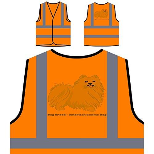 Dog Breed American Eskimo 1 Personalized Hi Visibility Orange Safety Jacket Vest Waistcoat s783vo