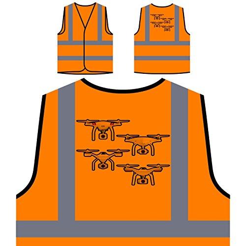 Drone Camera Pilot Personalized Hi Visibility Orange Safety Jacket Vest Waistcoat r635vo