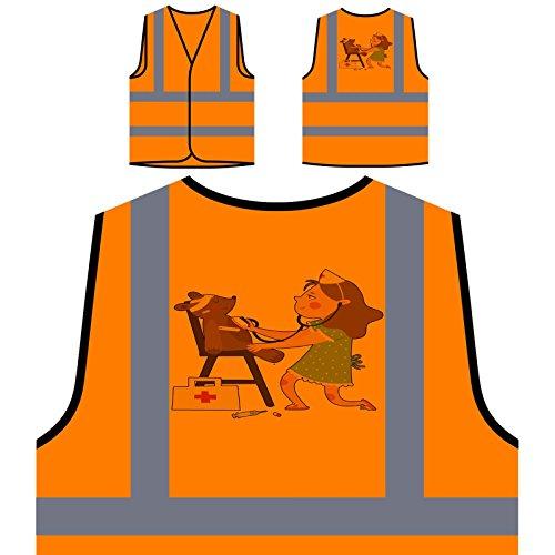 Girl Doctor Teddy Bear Personalized Hi Visibility Orange Safety Jacket Vest Waistcoat p774vo