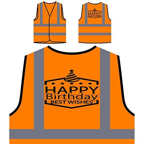 Happy Birthday To You Personalized Hi Visibility Orange Safety Jacket Vest Waistcoat p956vo