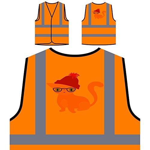 Hipster cat 01 Personalized Hi Visibility Orange Safety Jacket Vest Waistcoat t948vo