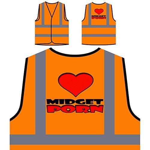 I Love Midget Porn Funny Personalized Hi Visibility Orange Safety Jacket Vest Waistcoat s251vo