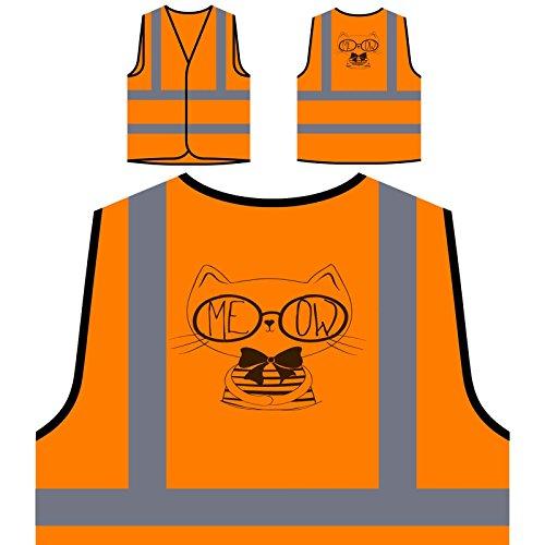 Meow Cat Funny Face Personalized Hi Visibility Orange Safety Jacket Vest Waistcoat u336vo