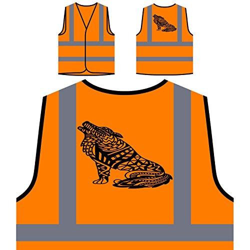 Wolf Howling Personalized Hi Visibility Orange Safety Jacket Vest Waistcoat t420vo