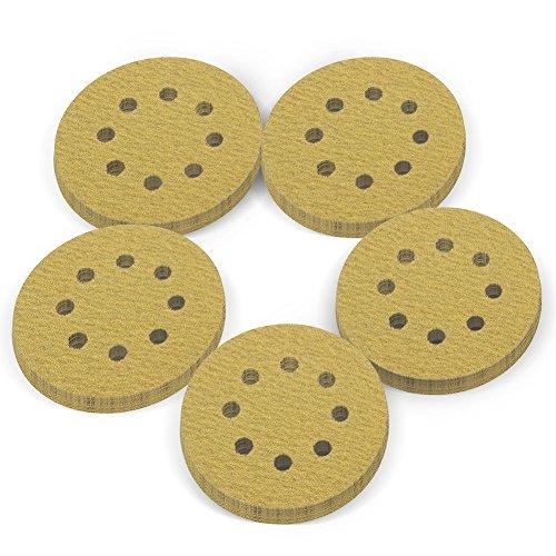 LotFancy 5-Inch 8-Hole 80 Grit Dustless Hook-and-Loop Sanding Disc Sander Paper Pack of 100