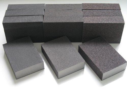 12 X MIXED GRITS WET AND DRY SANDING BLOCK  PADS FINE MEDIUM COARSE ABRASIVE FOAM SANDPAPER BLOCKS 12 MIXED BLOCKS by DOMS DIY DIRECT