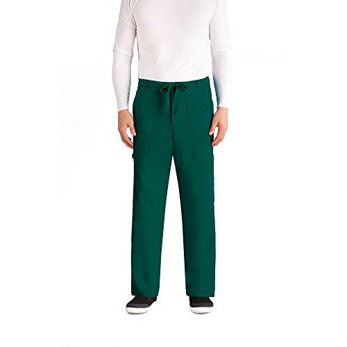 Greys Anatomy Mens 0203 6 Pocket Drawstring Zip Fly Scrub Pant- Hunter- Medium
