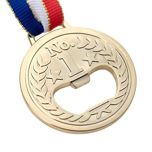 Aspire 6 PCS Golden Novel Medal Bottle Openers With Neck Ribbon Reward Gift Party Favors