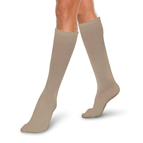 Core-Spun 10-15mmHg Medical Light Graduated Knee High Compression Socks Khaki X-Large Regular