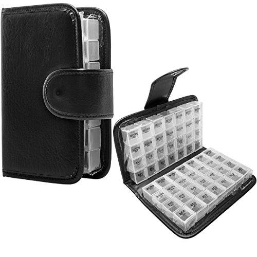 Simply Genius Black 14 Day Daily Pill Organizer Portable Locking Travel Case Doses Dispenser AMPM Day Night Weekly Pill Box Organizer Case