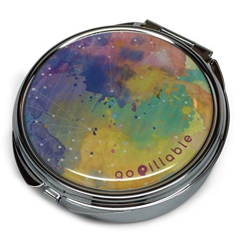GoPillable LARGE Watercolor Sky Decorative Medicine Organizer Pill Box for Purse or Pocket