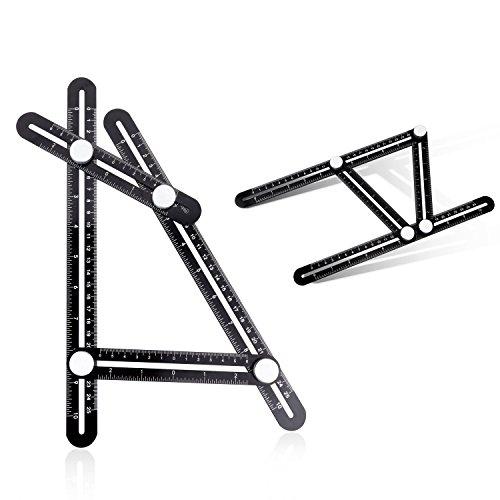 Multi-Angle Measuring Ruler Aluminum Alloy Angleizer Template Tool Angle Finder Measurement Tools for CarpenterEngineersCraftsmenBuildersHandymen